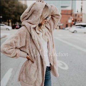 Faux Fur Sherpa Hoodie Plush Jacket Coat TAUPE